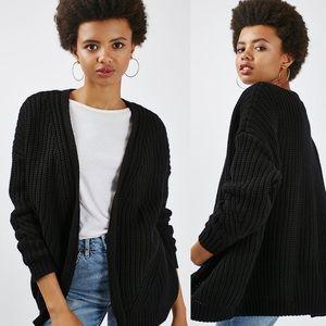 Topshop Black Fisherman Knit Oversized Sweater